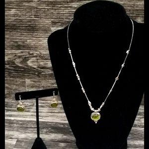 Retired Silpada Peridot Earrings & Necklace Set